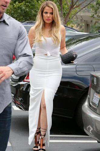 skirt top slit skirt white all white everything khloe kardashian sandals summer outfits maxi skirt