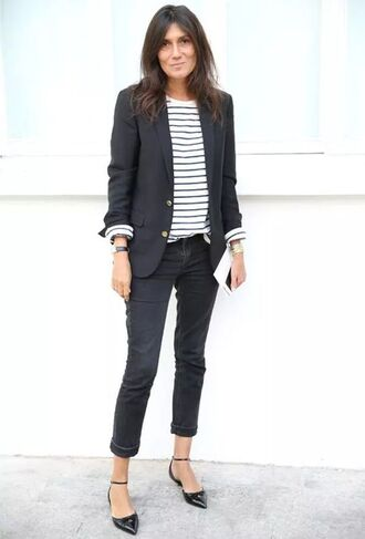 jacket flat pumps striped shirt blazer black blazer black jeans boyfriend jeans emmanuelle alt french girl style black striped t-shirt