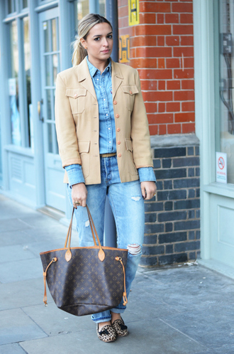 camila carril blogger jacket louis vuitton bag denim shirt ripped jeans ballet flats