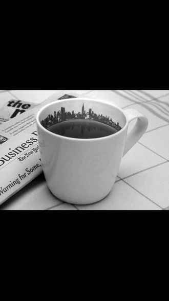 jewels white coffee mug city skyline coffee shop black and white city life