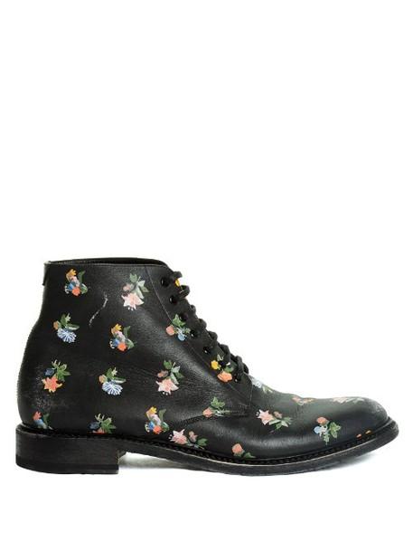 Saint Laurent leather ankle boots lolita boots ankle boots floral leather print black shoes