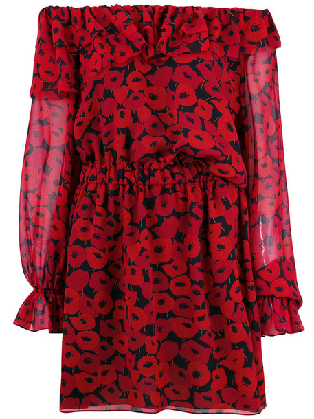 dress print dress women print silk red