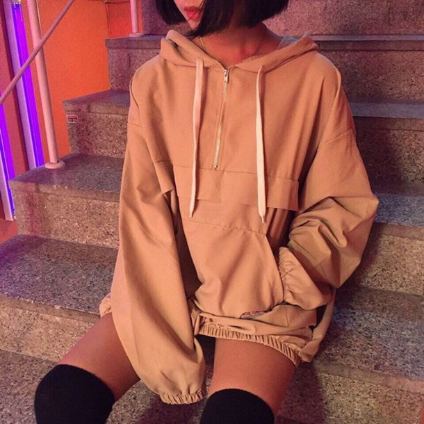 jacket windbreaker beige jacket coat nude jumper oversized beige t-shirt jack bomber jacket