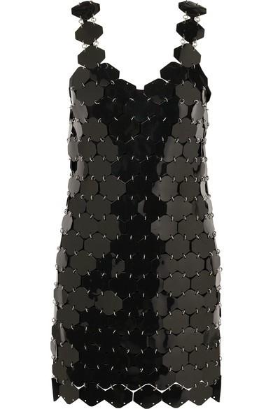 Embellished Metallic Mini Dress