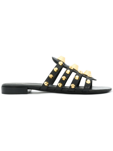 Balenciaga women sandals leather black shoes