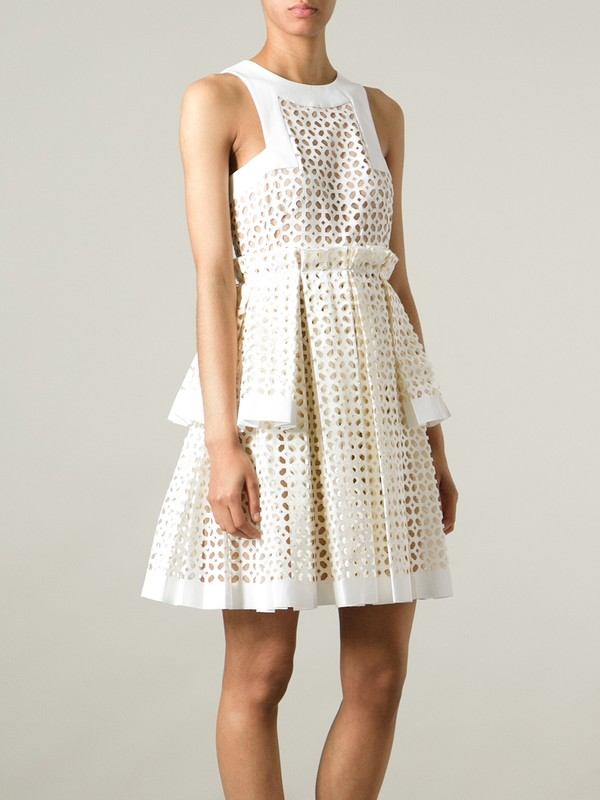 dress laser cut box pleat dress alexander mcqueen