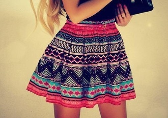 skirt print colorful pink black navy girly cute tribal pattern