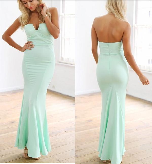 Fashion hot green sexy strapless long dress