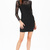 Black Lace Long Sleeve Backless Bodycon Dress - Sheinside.com