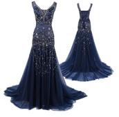 dress,navy blue rhinestones prom dress