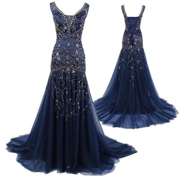 dress navy blue rhinestones prom dress