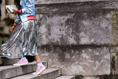 skirt,fashion week street style,fashion week 2016,fashion week,paris fashion week 2016,silver,silver skirt,midi skirt,sneakers,pink sneakers,jacket,blue jacket,streetstyle,sequins,college,back to school,pastel blue,satin bomber,outfit idea,sequin skirt