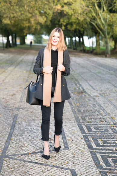 scarf blogger bag jeans jewels the working girl camel