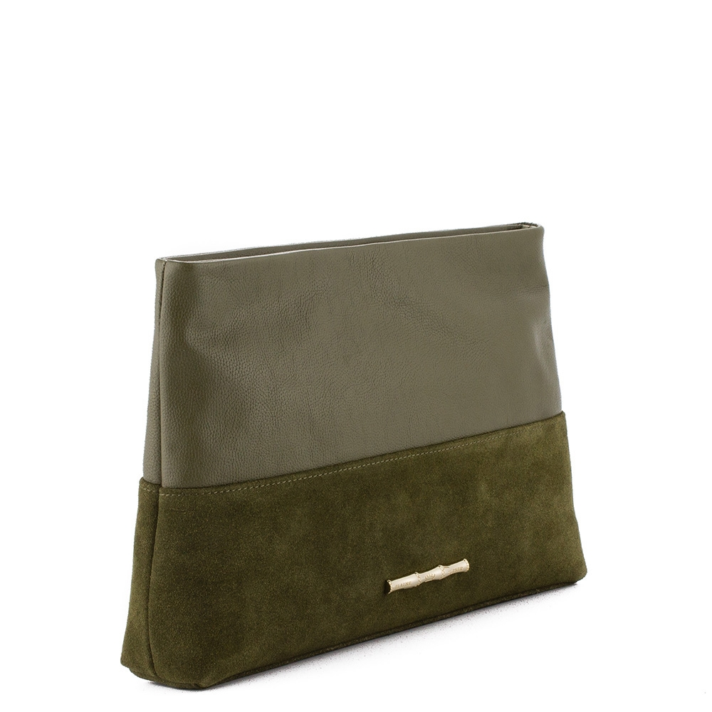 Drew Olive Leather Clutch