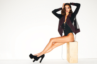 shoes nastygal nastygal.com nasty gal collection bodysuit mesh jacket black heels platform shoes underwear jacket
