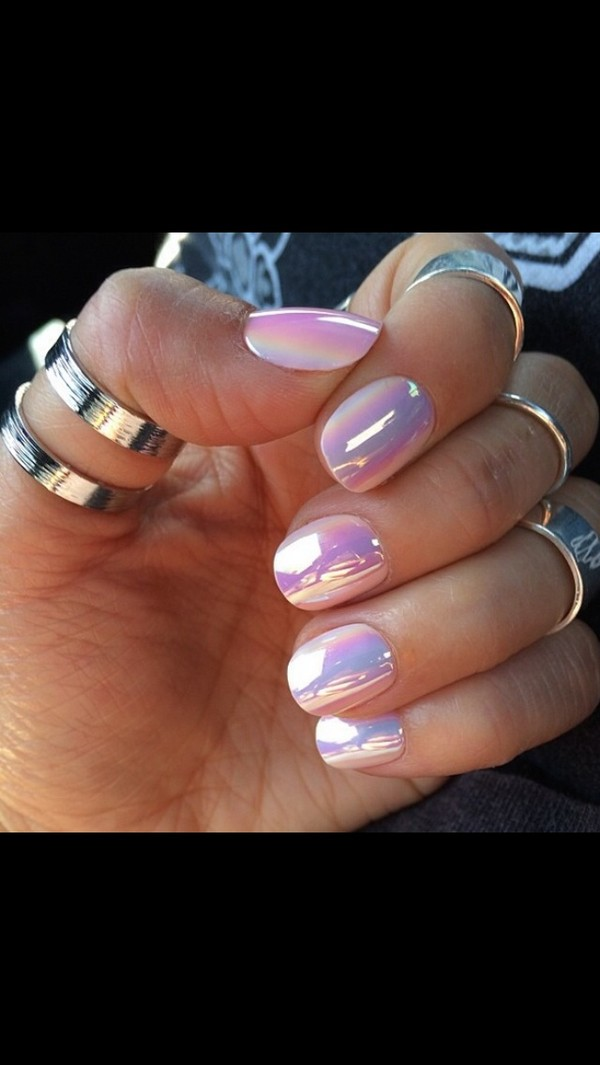 Nail Polish Metallic Holographic Glossy Iridescent Pink Purple Nailpolish Nails Nail
