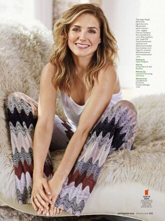 pants top editorial summer outfits sophia bush pattern hippie