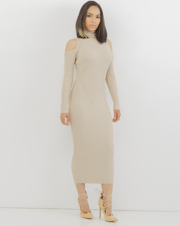 f0856083a911 COLD SHOULDER Ribbed Knit Turtleneck Midi Dress in Nude at ...