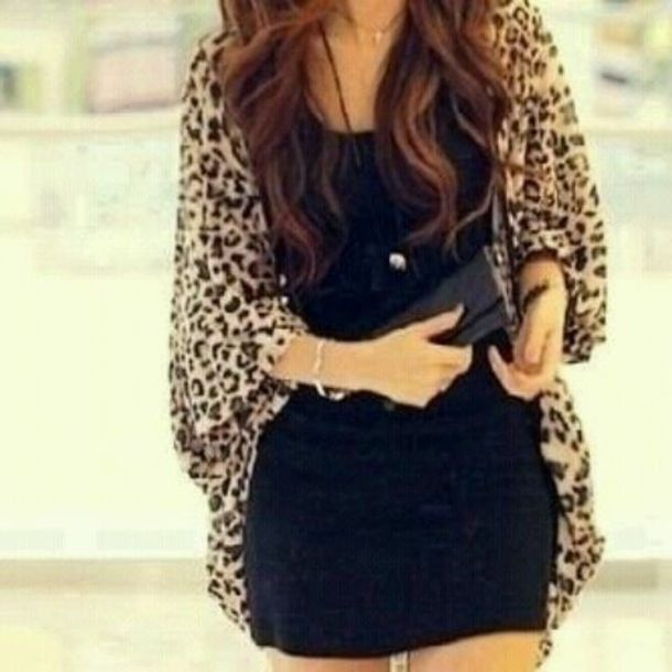 Sweater: clothes, leopard print, cardigan, leopard print, long ...