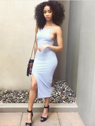 dress bodycon dress light blue