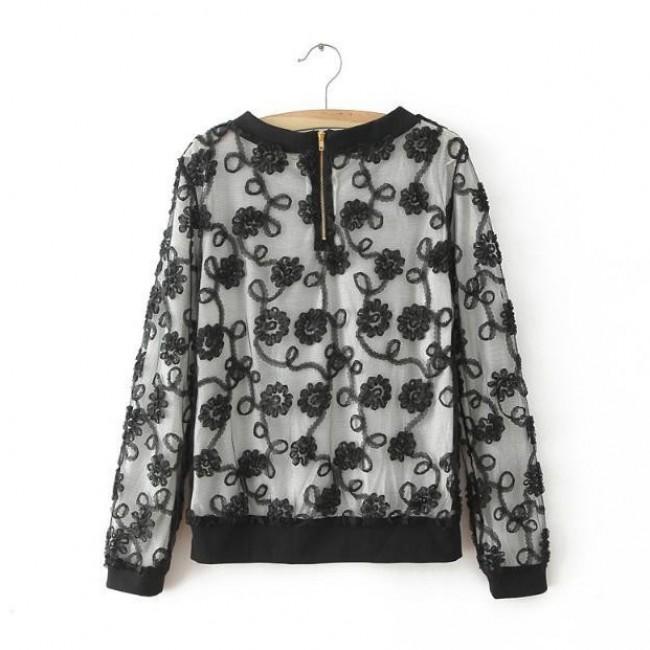 Floral Lace Black Shirt