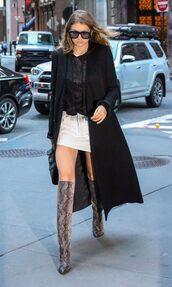 skirt,shoes,sunglasses,boots,gigi hadid,coat,top,mini skirt,white skirt
