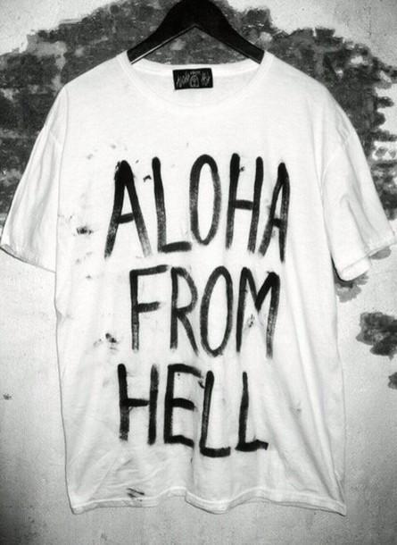 t-shirt aloha hell grunge