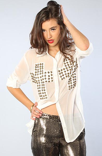 Reverse the sheer stud cross shirt  in white