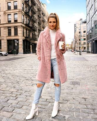 coat tumblr pink coat top white top turtleneck teddy bear coat white turtleneck top boots white boots ankle boots denim jeans blue jeans ripped jeans