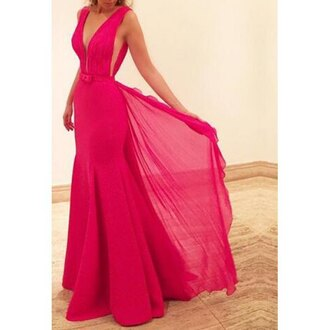dress red classy elegant fashion style trendy flowy pink rose wholesale pink dress