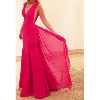 dress red classy elegant fashion style trendy flowy pink rose wholesale pink dress