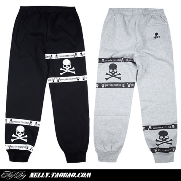 pants unisex sweats black grey skull guys girl sweatpants mastermind