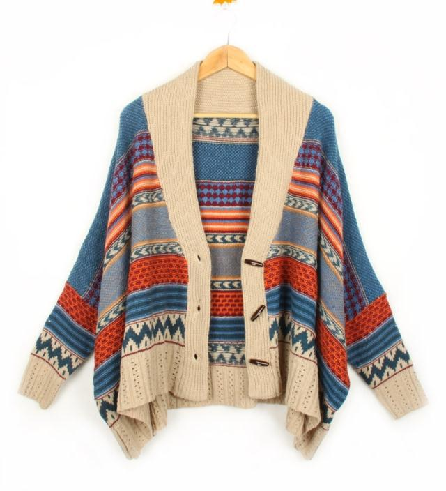 Bohemian Casual Tribal Oversized Knit Bat Sleeve Sweater Coat Knitwear Cardigan | eBay