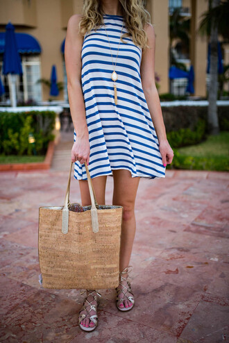 katie's bliss - a personal style blog based in nyc blogger dress shoes bag jewels tote bag summer dress summer bag striped dress