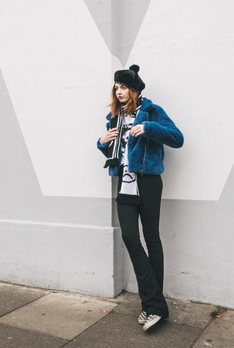 pants tumblr flare pants black pants scarf hat beret jacket blue jacket faux fur jacket