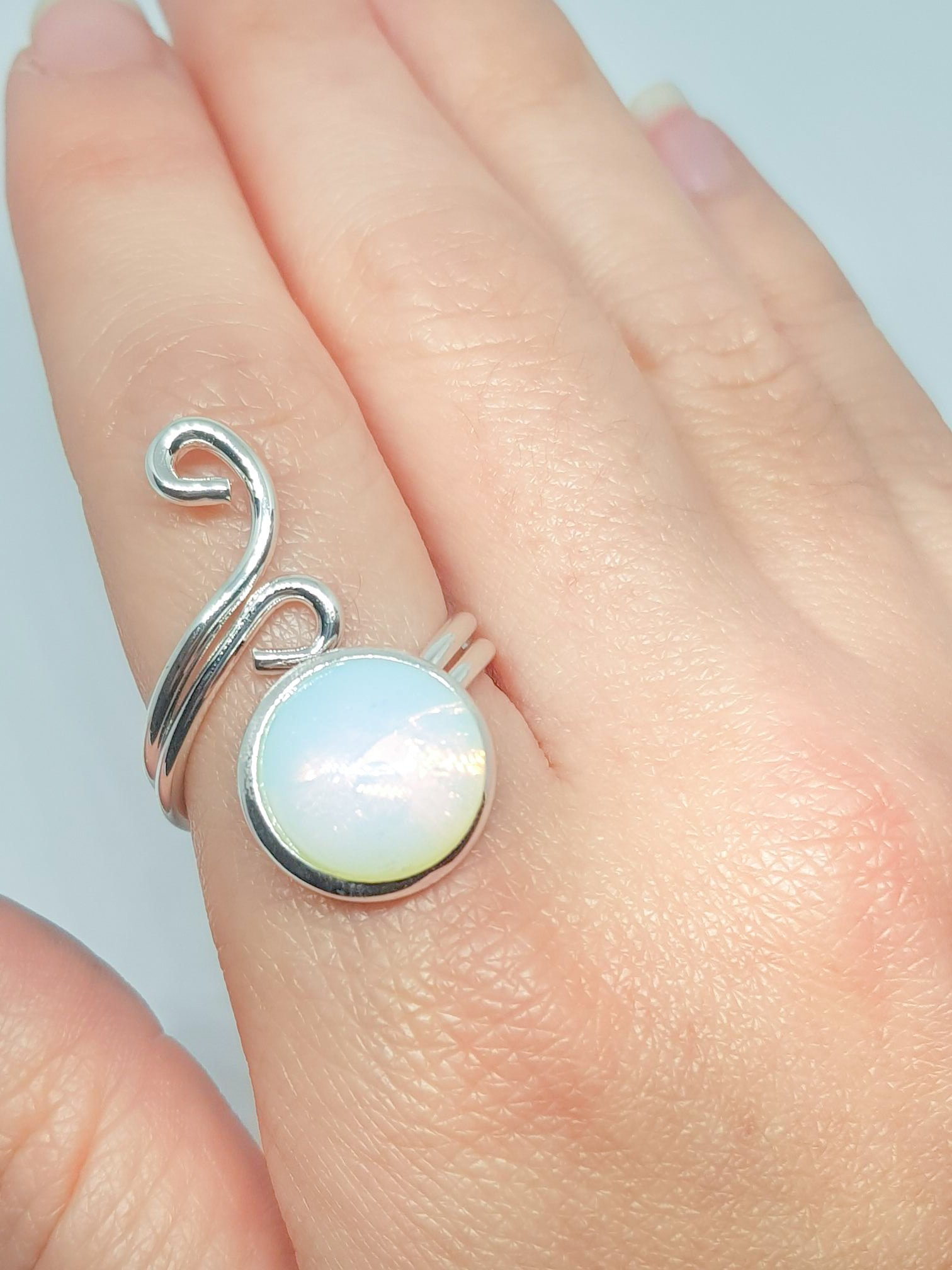 Opal Ring - Polished Round Opal Gemstone Ring - Adjustable Silver Plated Ring