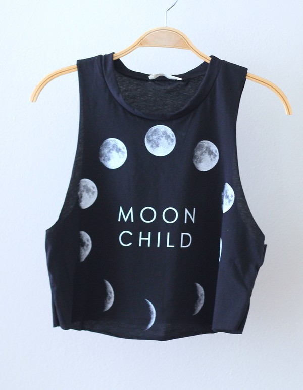 shirt moon phases moon child crop top black crop top moon phases of the moon child black white moon