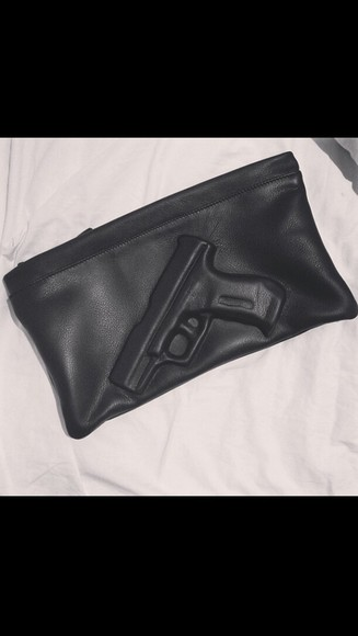 bag gun leather clutch
