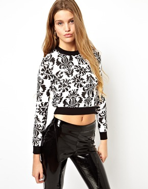 ASOS | ASOS Crop Jumper With Baroque Print at ASOS