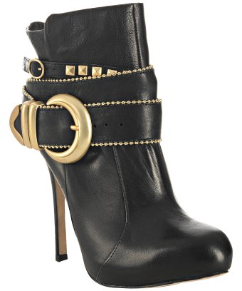 Dolce vita black leather 'braxton' buckle detail ankle boots