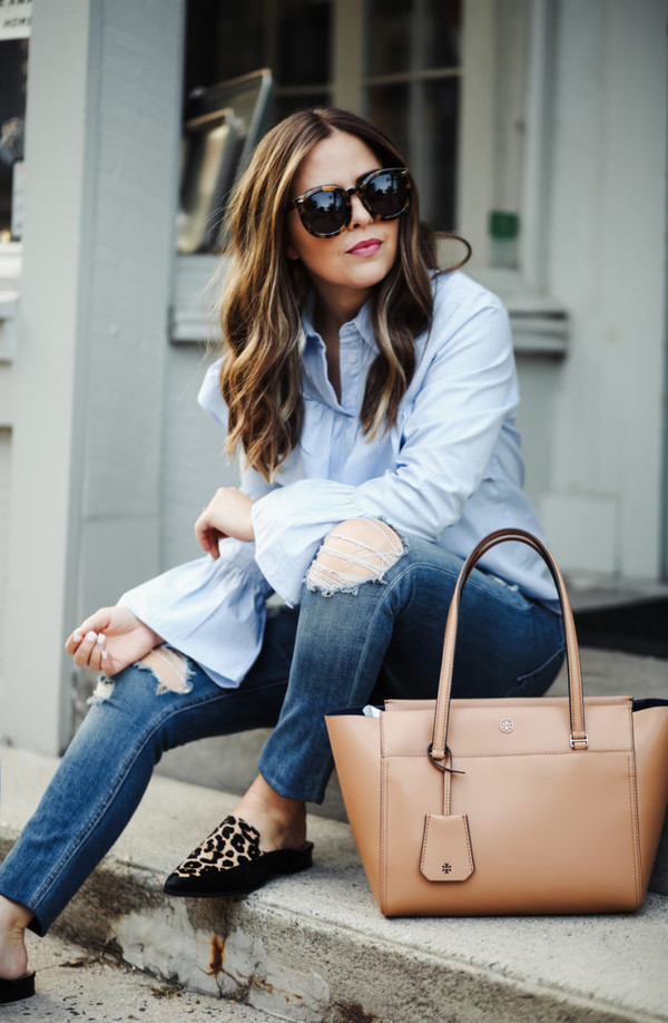 dress corilynn blogger top jeans shoes bag sunglasses