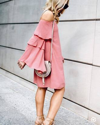 dress tumblr mini dress pink dress bell sleeves bell sleeve dress bag nude bag sandals sandal heels high heel sandals off the shoulder off the shoulder dress shoes