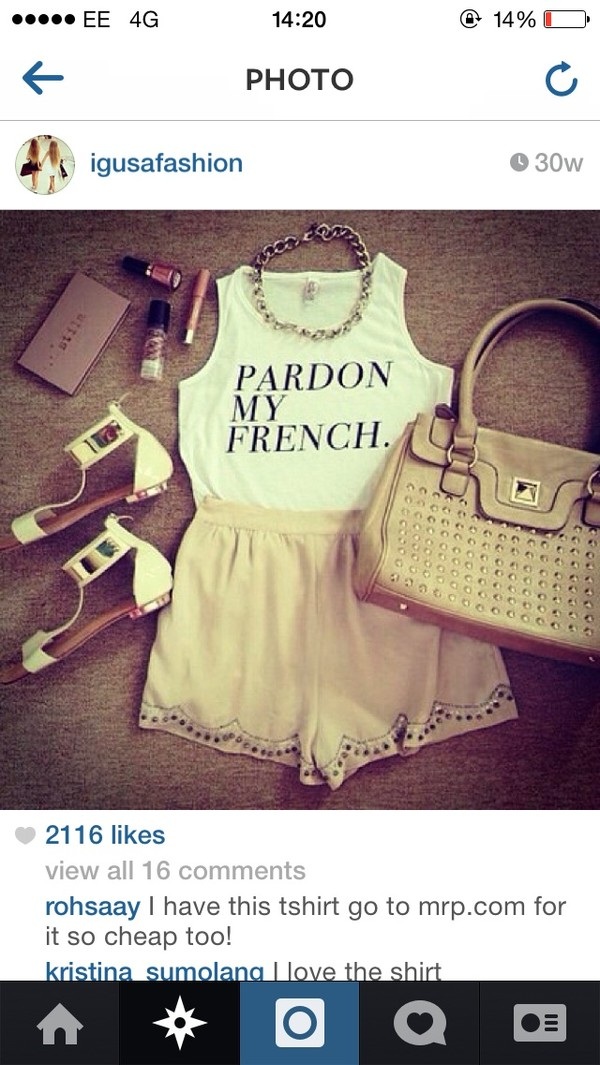 t-shirt quote on it pardon my french style french skirt shoes necklace black and white shirt shorts phone cover