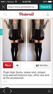 jacket,camo jacket,vest,tumblr outfit,knee high socks,thigh highs,skirt,skater skirt,stripes,underwear,socks,blouse,cardigan