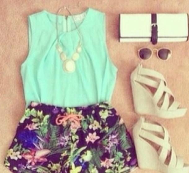 blouse shorts bag shoes