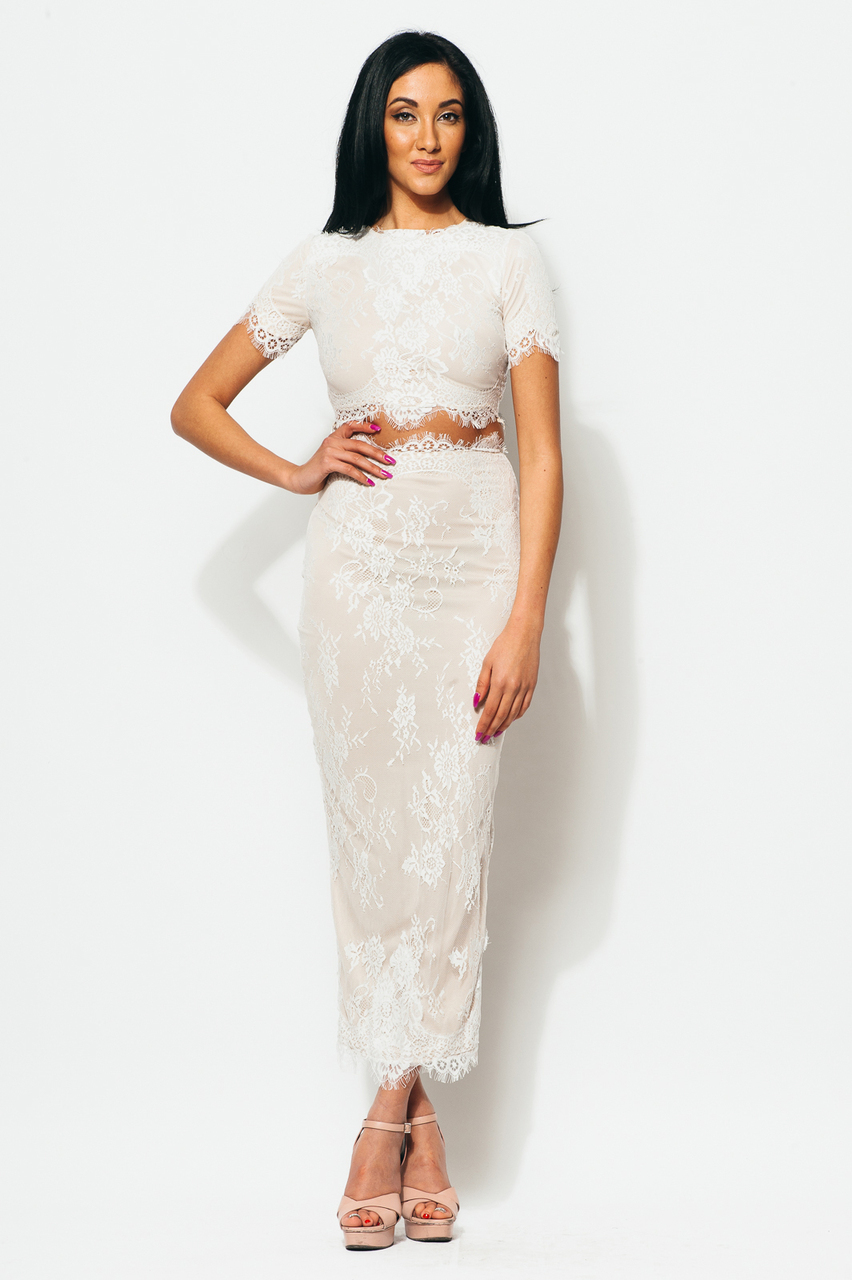 Lace two piece midi white