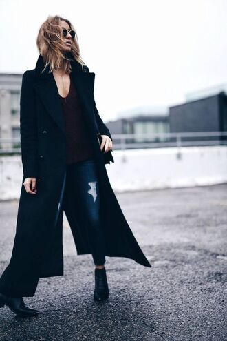 coat black coat long coat top burgundy v neck denim jeans blue jeans ripped jeans boots black boots ankle boots mid heel boots tumblr