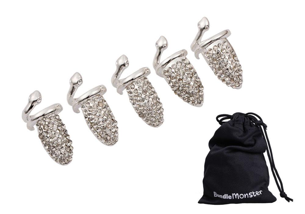 Bundle Monster 5pc Women Girls Fashion Popular Finger Nail Ring Punk Design | eBay