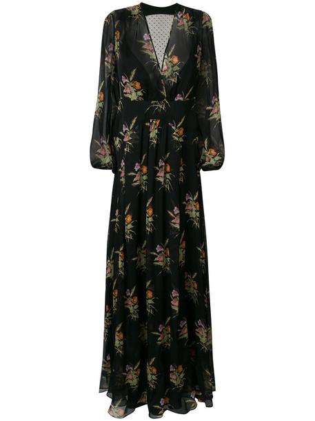 No21 dress floral dress back sheer women floral black silk