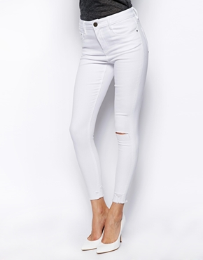 ASOS Ridley High Waist Ultra Skinny Ankle Grazer Jeans in White